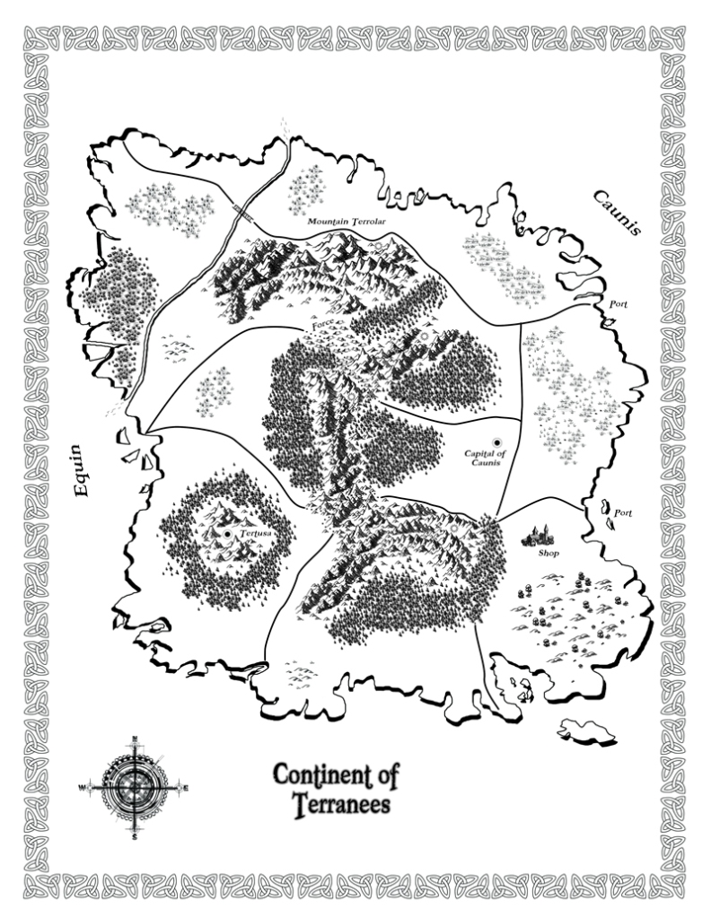 Fantasy map of the Continent of Terranees