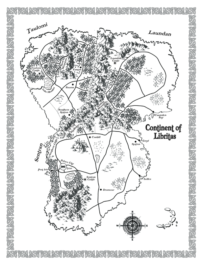 Fantasy map of the Continent of Libritas